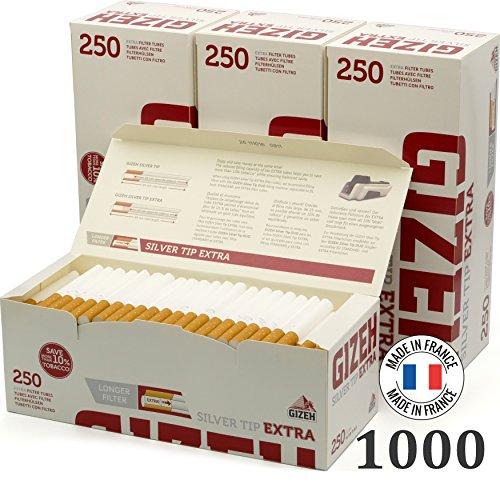 Gizeh Lot de 4 Paquets de 250 filtres Extra Longs, argenté