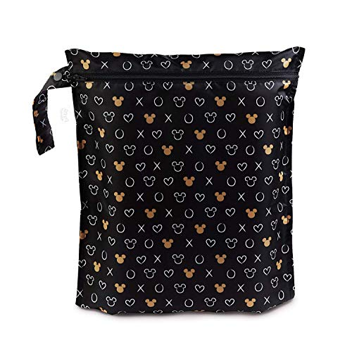 Bumkins Waterproof Wet Bag, Washable, Reusable for Travel, Beach, Pool, Stroller, Diapers, Dirty Gym Clothes, Wet Swimsuits, Toiletries, 12x14 – Disney Minnie Mouse Icon