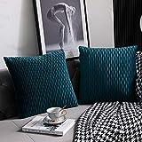 DEZENE 50 cm x 50 cm Taies d'oreiller Bleu Sarcelle: Pack de 2 Housses de Coussin Décoratif Carré en Velours Rayé Original pour Canapé de Chambre