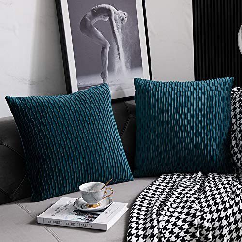 DEZENE 40cm x 40cm Mint Kissenbezug: 2er Pack Original Gestreifte Samt Quadratische Dekorative Kissenbezüge für Schlafzimmer Couch