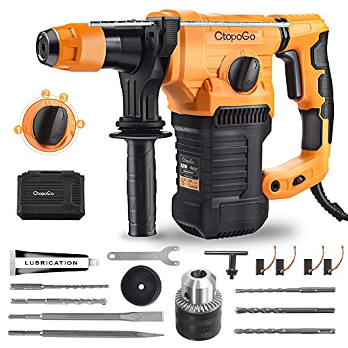 1-1/4 Inch SDS-Plus Heavy Duty Rotary Hammer Drill 4 Functions with Vibration Control Safety Clutch Includes Drill Chuck,Chuck Key, Grease, Flat& Point Chisels, 5 Drill Bits, Gloves and Carrying Case