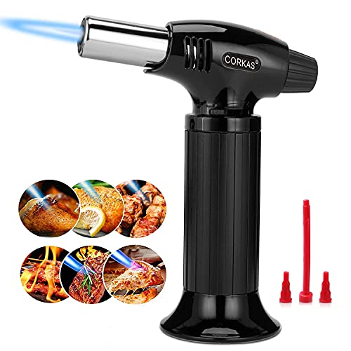 Butane Torch by Corkas, Professional Culinary Blow Torch Lighter with Safety Lock, Continuous Flame Mode and MAX 1300°C 2500°F for Kitchen Cooking, BBQ, Creme, Soldering, DIY ( Gas Not Included)