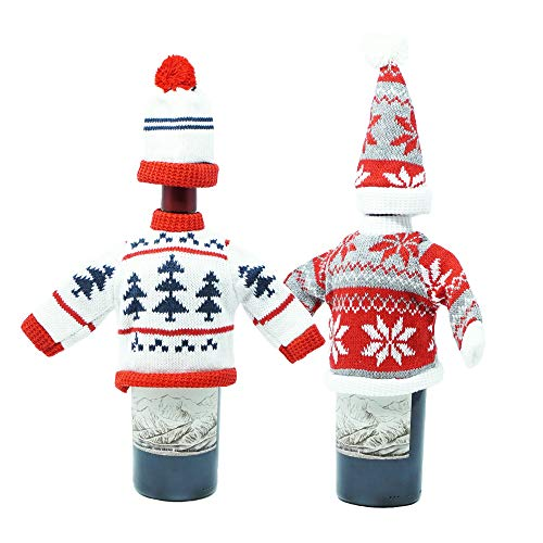 Christmas Wine & Champagne Bottle Knitted Sweater Cover with Hat - Creative Xmas Party Table Decoration - Set of 2