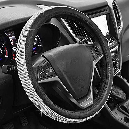 Universel Brillant diamant couverture de volant de voiture 38 CM / 15 '' Plein Bling bling Strass Cuir Couvre volant Auto Intérieur Car Styling Décor Accessoires (black)
