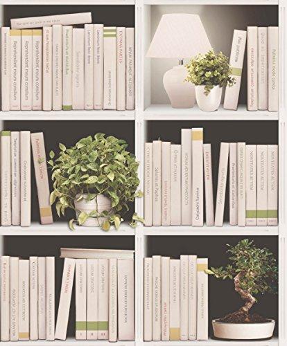 UGEPA J79307 - Papel pintado, diseño de estantería con libros, multicolor