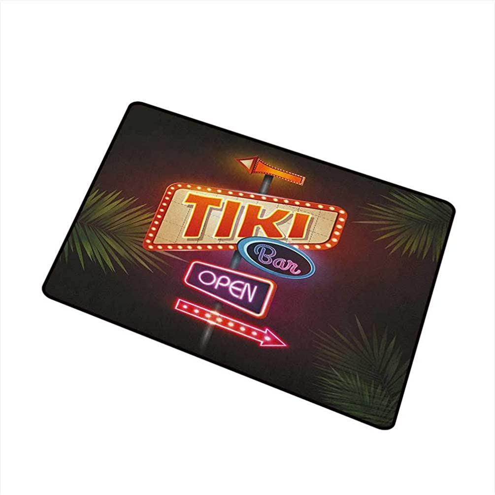 Sillgt Tiki Bar Funny Doormat Old Fashioned Neon Signs Illustration of Open Bar Palm Tree Branches Roadside Machine-Washable/Non-Slip 24