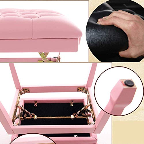 PIVFEDQX Piano Stool Piano Stool Cute Pink Piano Stool Kawaii Solid Wood Breathable Adjustable Piano Bench Comfortable Seating Experience (Color : Pink, Size : 60x40x58cm)