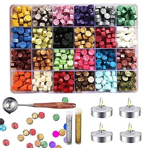 Cera per Sigilli Kit,Sigillo Ceralacca, 600 Perline di Ceralacca,24 Colori Perline di Cera Vernice Ceralacca con 4 Candele e 1 Cucchiaio per Cera per Timbro di Cera