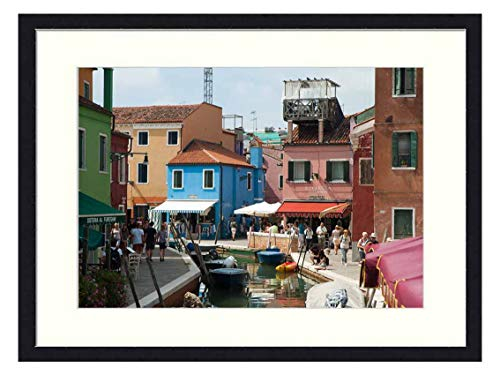 OiArt Wall Art Print Wood Framed Home Decor Picture Artwork(24x16 inch) - Italy Venice Burano Boats Canal Color Colourful