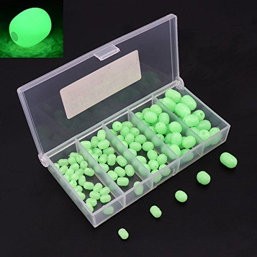 OriGlam 【Happy Shopping Day】 100pcs Soft Plastic Luminous Glow Fishing Beads, Beads Round Beads Fishing Lures, Green Sea Fishing Bead Fishing Tackle Tools