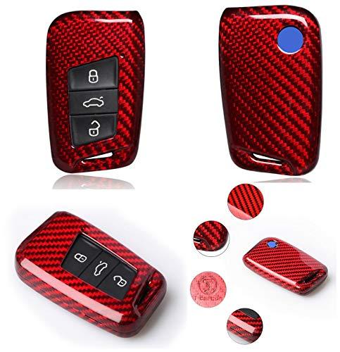 Max Auto Carbon ® Czerwony Carbon Look Gfk etui na klucze ochrona pasuje do Arteon T-ROC Tiguan Touareg Golf 7 T-Cross Passat Touran