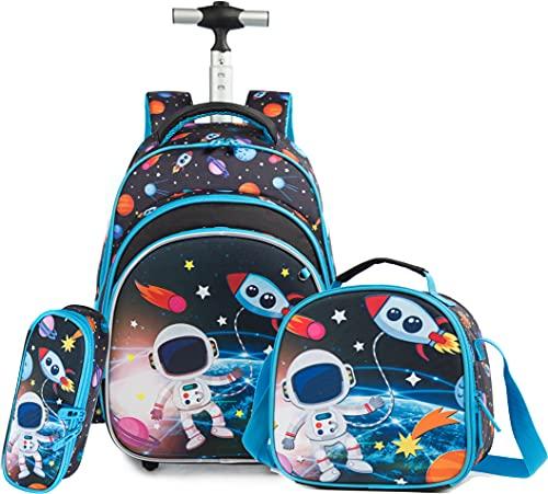 HTgroce Zaino a forma di unicorno, per il tempo libero, per bambini, per la scuola elementare, per l'asilo, set da viaggio, con borsa per il pranzo, 3 pezzi, Astronauta, 40 cm,