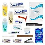 24 Kits - Bulk Case of Wholesale 19 Piece Hygiene & Toiletry Kit for Men, Women, Travel, Charity
