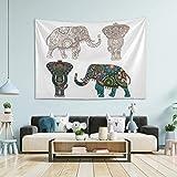 N/ A Tapiz para colgar en la pared, diseño de elefante indio, tamaño grande, para recámara, tapiz trippy puerta, 80 x 152 cm, tela, multicolor, 60x51(in)
