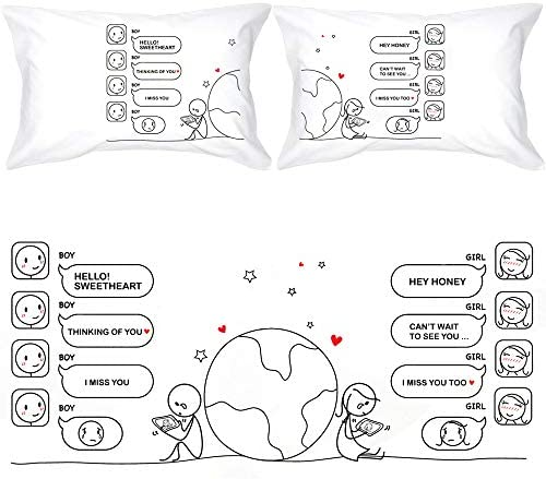 BOLDLOFT Wish You were Here Couples Pillowcases Long Distance Relationships Gifts Long Distance product image