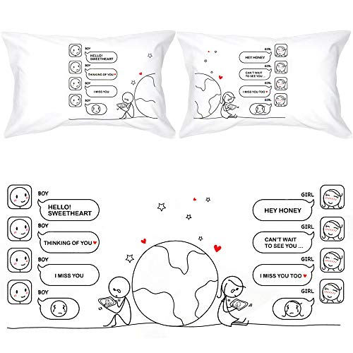 BoldLoft Wish You were Here Couples Pillowcases-Long Distance Relationships Gifts, Long Distance Gifts for Couples, Gifts for Him for Her, His and Hers Gifts, LDR Gifts