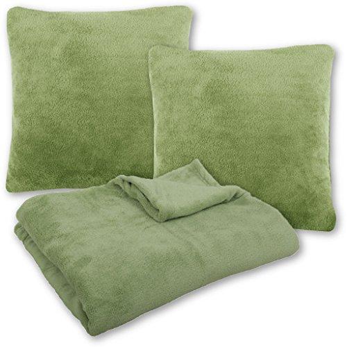 Bestlivings knuffeldeken, sprei, woondeken met kussens in vele kleuren, 250 x 280 cm + 2 x kussensloop, kussen, 60 x 60 cm ohne Kissenfüllung groen - olijfgroen