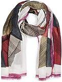 styleBREAKER chal de mujer con motivo gráfico de líneas y flecos, estola, pañuelo 01017095, color:Gris-rojo-rosado