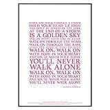 Póster con licencia oficial de You Never Walk Alone Song Lyrics (sin marco) (A4 (29,7 cm x 21 cm), color rosa