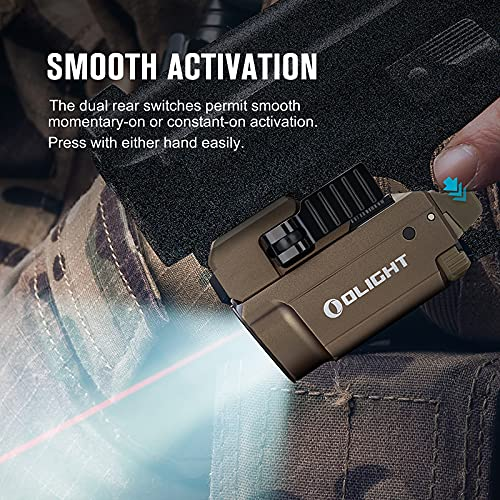 OLIGHT Baldr RL Mini Tactical Flashlight 600 Lumens with Red Beam,130M Max Throw Weaponlight Powered by 230mAh Rechargeable Battery for Self-Defense, Law Enforcement-Desert Tan