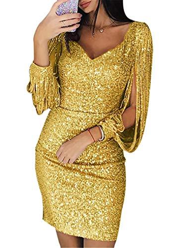 generisch JIER Damen V-Ausschnitt Glänzend Partykleid Fransen Langarm Sexy Cocktailkleid für Hochzeit Paillettenkleid Abendkleider Elegante Festliches Kleid Glitzer Abendkleid (Gelb,Small)