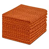DecorRack 8 Pack Kitchen Dish Towels, 100% Cotton, 12 x 12 Inch Dish Cloths, Perfect Cleaning Cloth for Washing Dishes, Kitchen, Bar, Counter and Car, Burnt Orange Color (Pack of 8)