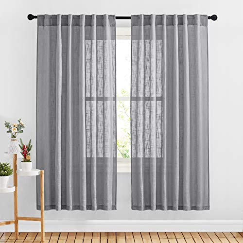 """NICETOWN Country Sheer Curtains for Bedroom Windows, Rod Pocket & Back Tab Faux Linen Semi Sheer Privacy with Light Filter Vertical Drapes for Flat/Living Room, 52"""" W x 72"""" L, Dark Grey, Set of 2"""