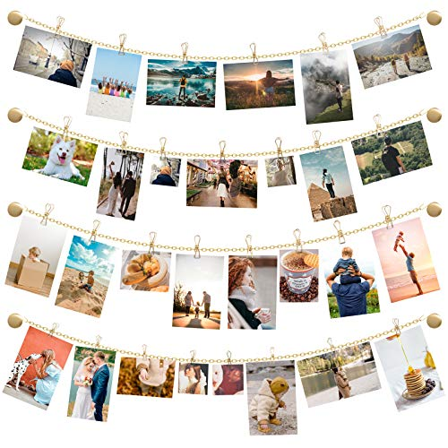Mkono Photo Wall Decor Metal Hanging Photo Display Wall Picture Cards Artworks Frames Collage Organizer with 35 Clips Home Decoration for Bedroom Living Room Nursery Dorm, Gold