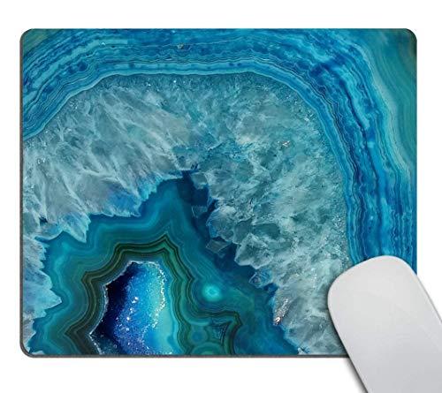 ZOMOY Stoff Mousepad,Heller Aqua Blue Türkis Geode Mineralstein,Blau,Rutschfest eeignet für Büro und Gaming Maus