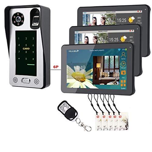 9 Zoll verdrahtete Wifi-Fingerabdruck IC-Karten-Video-Türsprechanlage-Türklingel-Wechselsprechanlage mit Tür-Zugriffskontrollsystem (Größe : Set3)