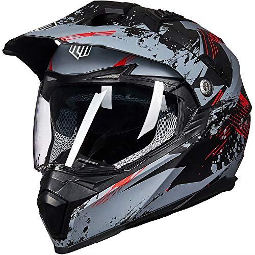 ILM Off Road Motorcycle Dual Sport Helmet Full Face Sun Visor Dirt Bike ATV Motocross Casco DOT Certified (XL, Grey-Red)
