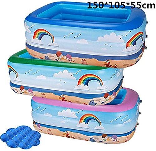 Baby Schwimmbad,Verdickter Drei-Ring-Babypool, rechteckiges aufblasbares Babykindbabybecken, Kindergeschenk -1,5m