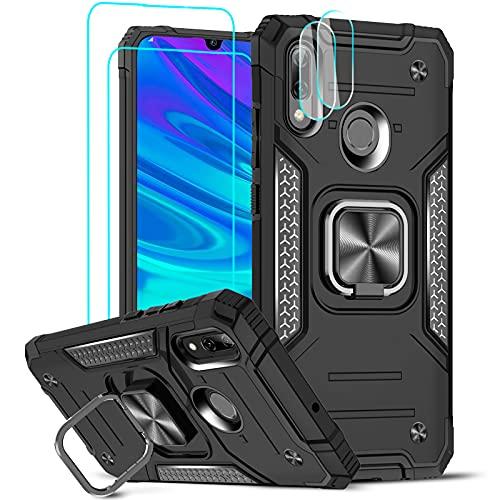 LeYi Funda para Huawei P Smart 2019 Armor Carcasa con [2 Unidades] Protector de Lente de Cámara,Cristal Templado, Case para P Smart 2019, Negro