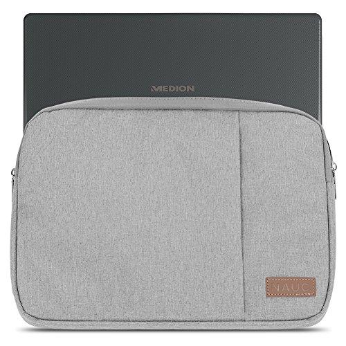 Medion Akoya P6678 Hülle Notebook Tasche in Schwarz oder Grau Laptop Schutzhülle Case Cover Etui, Farbe:Grau