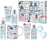 BRUBAKER Set de Baño y Ducha 'Coco playa' - 8 piezas - Set de regalo de belleza con taza de cerámica