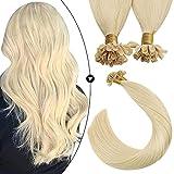 Ugeat Hot Fusion Nail Tip Human Hair Extensions Blonde Human Hair Pre Bonded Keratin Hair Extensions Human Hair Blonde Color 14 Inch Short Length Hair 50g/50strands