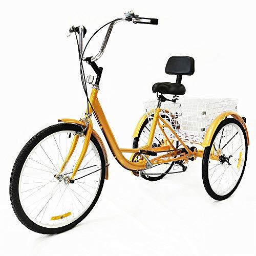 Kaibrite Dreirad für Erwachsene, 61 cm (24 Zoll), Dreirad mit Rückenlehne, 6-Gang-Dreirad für Erwachsene, Cruise-Trike, 3 Räder, Cargo-Trike mit Korb, Pedal, Fahrrad, für Outdoor-Sport, Einkaufen
