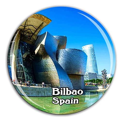 Museo de Arte de Bilbao, España, Imán de Nevera, Cristal 3D, Ciudad Turística, Viaje, Colección de Recuerdos, Regalo, Fuerte, Pegatina para el Refrigerador