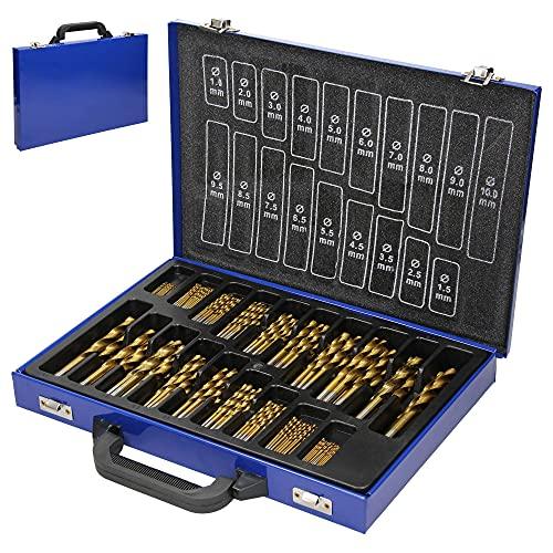 ECD Germany Juego de Brocas HSS 230 Unidades Incluye Maletin Metálico Azul Barrenas Helicoidales para Taladro Perforadora para Madera Fina Realizar Molduras y Roscas Herramientas Manuales 1-10mm
