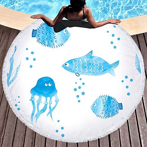ZHOUBIN Tondo Telo Mare Microfibra Meduse e Pesci per Adulti e Bambini Asciugamano di Viaggio Camping Coperta Telo da Bagno Piscina 150CM