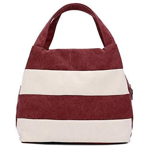 Hiigoo Ladies Handbag Stripes Daily Packages Travel Bag Canvas Bags Shopping Bag Ipad Bag (Red)