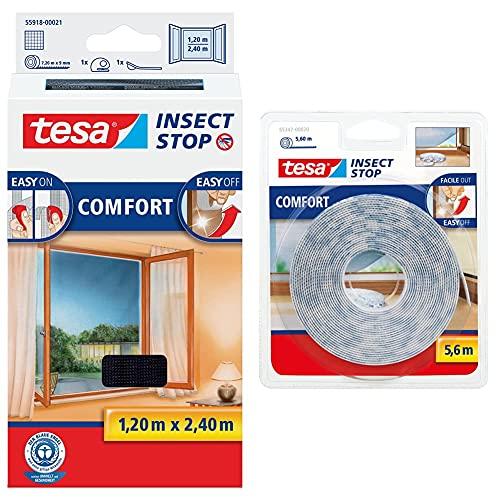 tesa Insect Stop COMFORT Fliegengitter für bodentiefe Fenster - Insektenschutz selbstklebend - Fliegen Netz ohne Bohren - anthrazit, 120 cm x 240 cm & Recambio cinta Velcro 5,60m blanco, Standard
