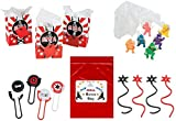 Multiple Ninja Warrior Kid's Party Favor Bundle Pack 60 pc (12 Treat Bags, 12 Sticky Stars, 12 Disk Shooters, 24 Paratroopers)