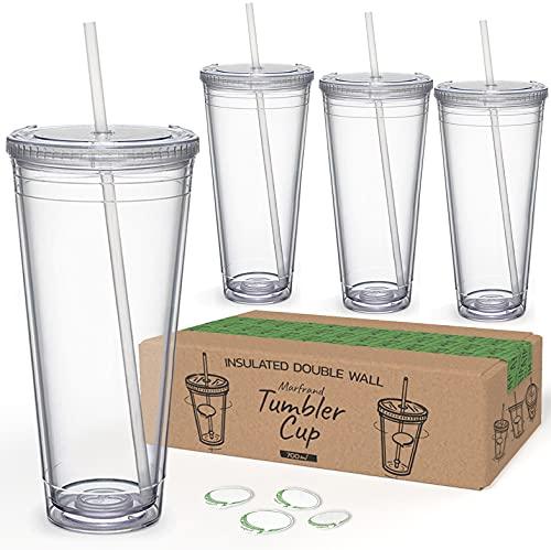 Marfrand Wiederverwendbare Kunststoffbecher mit Deckel und Strohhalm, doppelwandig, 700 ml, Hartplastikbecher mit Trinkhalm und BPA-freiem Deckel, 4 Stück