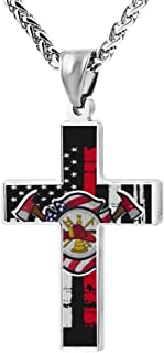 Cool Design Firefighter Thin Red Line USA Flag Zinc Alloy Religious Cross Pendant Necklace