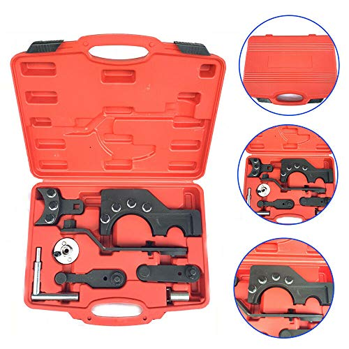 YUNRUX Motoreinstell Werkzeug Steuerkette Zahnrieme Arretierwerkzeug Zahnriemen Werkzeug Satz Einstellwerkzeug Nockenwellen für VW T5 Rot Steuerriemen im Werkzeugkoffer