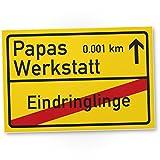 Papas Werkstatt Ortsschild (30 x 20 cm), Schild - Türschild, Geschenkidee Geburtstagsgeschenk...