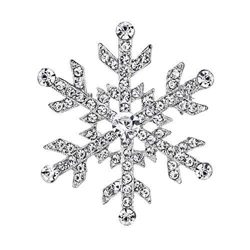 EVER FAITH - Navidad Regalo Cristal Austriaco Copo de Nieve Flor Invierno Broche - Plata-Tono A11452-1