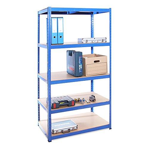 Lagerregal für Garage: 180 cm x 90 cm x 60 cm | Blau - 5 Stufig | 175 kg pro Regal (875 kg Kapazität) | 5 Jahre Garantie
