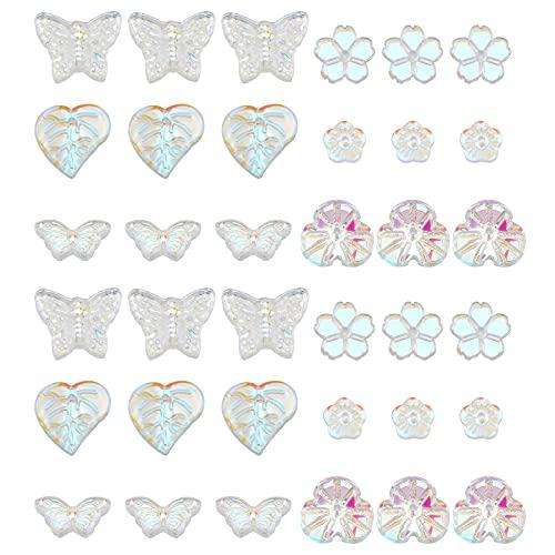 PandaHall 180 cuentas de mariposa, cuentas de flores y hojas de cristal, colgantes de cristal, espaciadores para primavera, verano, pendientes, pulseras, collares, joyas y decoraciones